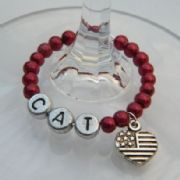 USA Flag Heart Personalised Wine Glass Charm - Full Bead Style
